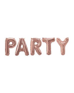 "Folioilmapallo ""Party"" ruusukultaisena – Glitz & Glamour Pink & Rose Gold"
