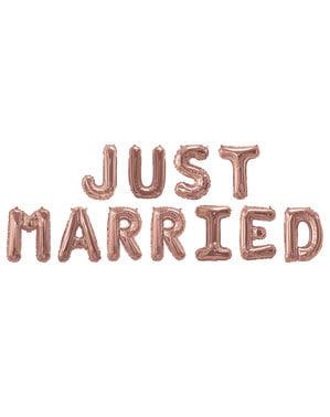 "Folioilmapallo ""Just Married"" ruusukultaisena – Glitz & Glamour Pink & Rose Gold"