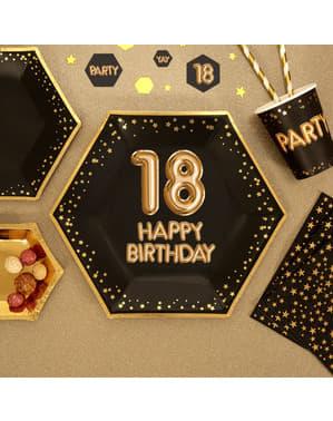 """8 """"18 Happy Birthday"""" kuusikulmaista paperilautasta – Glitz & Glamour Black & Gold"""