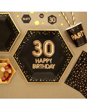 """Set 8 """"30 Happy Birthday"""" šesterokotnih papirnatih ploščic - Glitz & Glamour Black & Gold"""