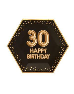 """8 """"30 Happy Birthday"""" kuusikulmaista paperilautasta – Glitz & Glamour Black & Gold"""