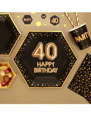"""Zestaw 8 sześciokątne papierowe talerze """"40 Happy Birthday"""" - Glitz & Glamour Black & Gold"""