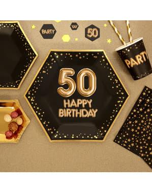 """8 """"50 Happy Birthday"""" kuusikulmaista paperilautasta – Glitz & Glamour Black & Gold"""