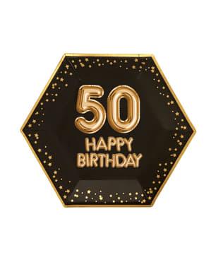 """Zestaw 8 sześciokątne papierowe talerze """"50 Happy Birthday"""" - Glitz & Glamour Black & Gold"""