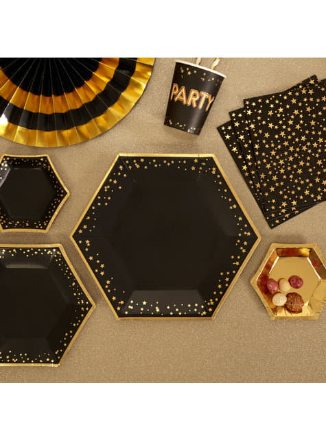 8 platos hexagonales de papel (27 cm) - Glitz & Glamour Black & Gold