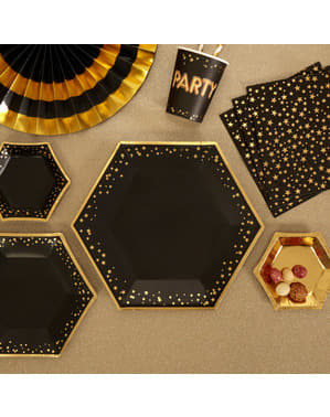 8 шестоъгълни хартиени чинии(27 cm)– Glitz & Glamour Black & Gold
