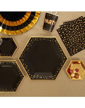 8 farfurii hexagonale de carton (27 cm) - Glitz & Glamour Black & Gold