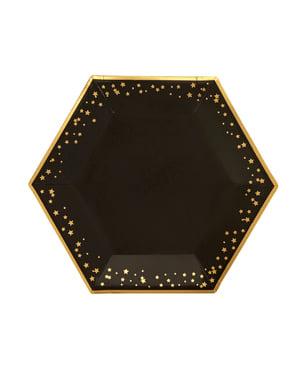 8 sekskantede papirtallerkener - Glitz & Glamour Svart & Gull