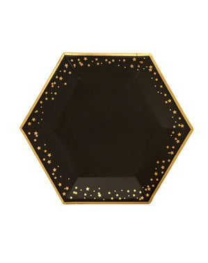 8 piatti esagonali di cart (27 cm) - Glitz & Glamour Black & Gold