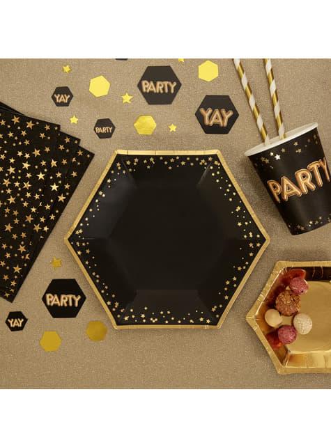 8 moyennes assiettes hexagonales en carton - Glitz & Glamour Black & Gold