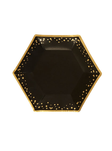 8 platos hexagonales medianos de papel (20 cm) - Glitz & Glamour Black & Gold