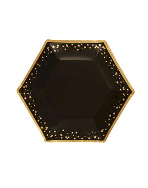 8 keskikokoista kuusikulmaista paperilautasta – Glitz & Glamour Black & Gold