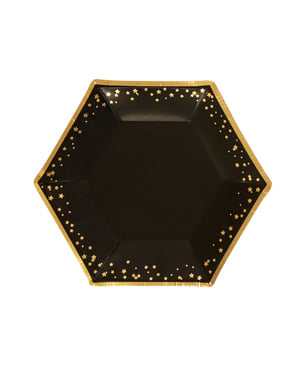 8 medium hexagonal paper plate (20 cm) - Glitz & Glamour Black & Gold