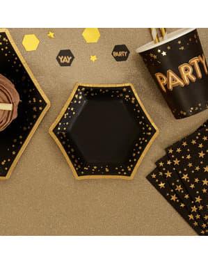 8 papieren zeskantige borde (12,5 cm) - Glitter & Glamour Zwart & Goud