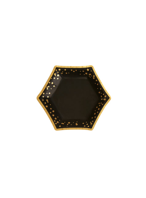 8 platos hexagonales de papel (12,5 cm) - Glitz & Glamour Black & Gold