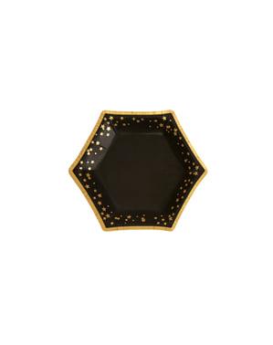 8 farfurii hexagonale de carton (12,5 cm) - Glitz & Glamour Black & Gold