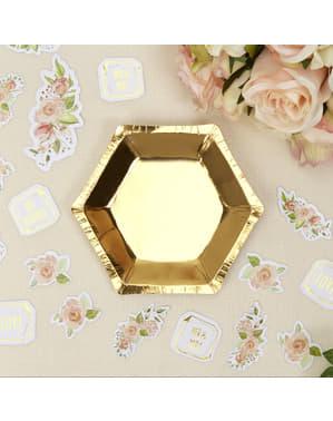 8 gouden papieren zeskantige borde (12,5 cm) - Glitter & Glamour Roze & Rosé Goud