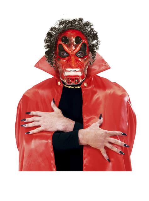 Máscara de demonio rojo con pelo - para tu disfraz