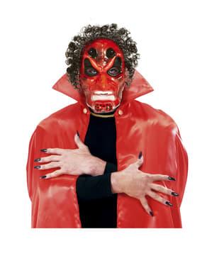 Maska demon czarwona z włosami