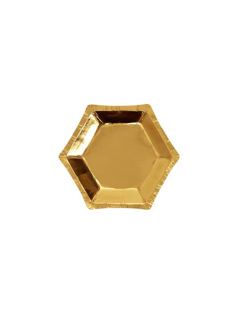 8 platos hexagonales dorados de papel (12,5 cm) - Glitz & Glamour Black & Gold - para tus fiestas