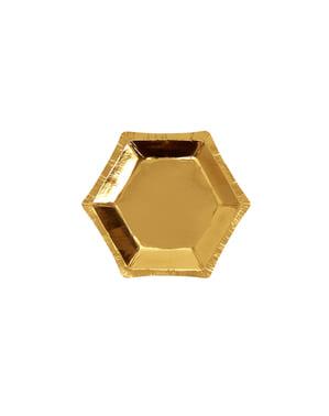 8 pratos hexagonais dourados de pape (12,5 cm) - Glitz & Glamour Black & Gold