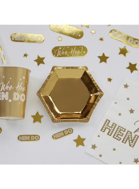 8 platos hexagonales dorados de papel (12,5 cm) - Glitz & Glamour Black & Gold - barato