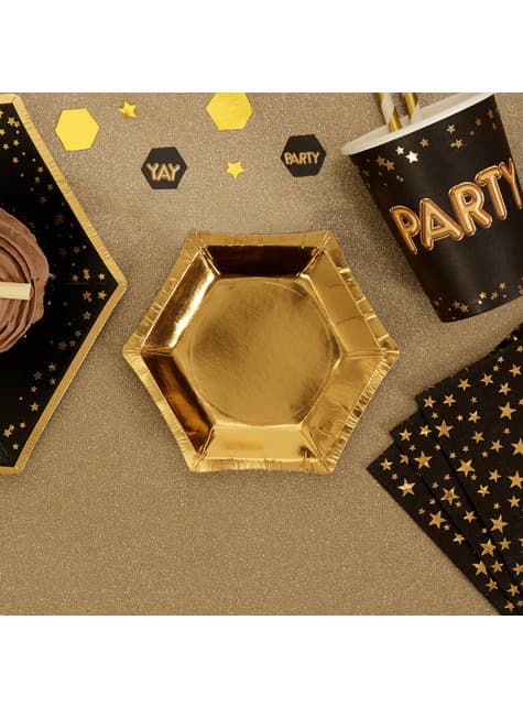 8 platos hexagonales dorados de papel (12,5 cm) - Glitz & Glamour Black & Gold - comprar