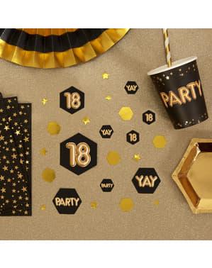 "Konfetti na stół ""18"" - Glitz & Glamour Black & Gold"