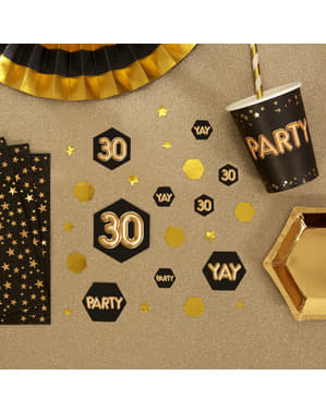 "Pöytäkonfetti ""30"" - Glitz & Glamour Black & Gold"