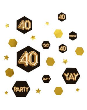 "Konfetti na stół ""40"" - Glitz & Glamour Black & Gold"