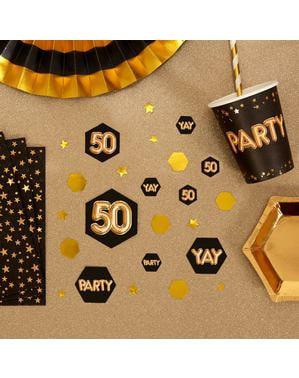"Konfetti na stół ""50"" - Glitz & Glamour Black & Gold"