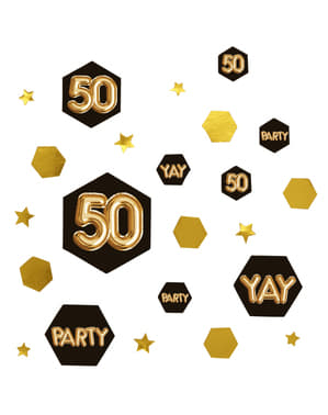 "Pöytäkonfetti ""50"" - Glitz & Glamour Black & Gold"