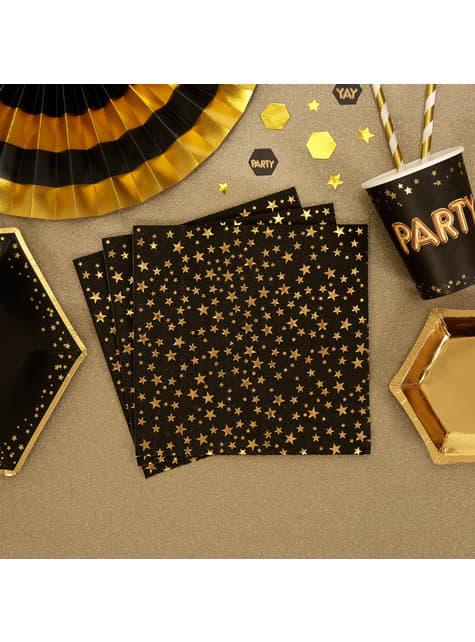 Set of 16 paper napkins - Glitz & Glamour Black & Gold