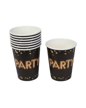 """Zestaw 8 papierowe kubki """"Party"""" - Glitz & Glamour Black & Gold"""