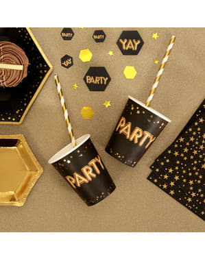 "8 ""Party"" paperikuppia – Glitz & Glamour Black & Gold"