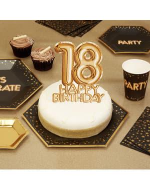 18 Urodziny Złota dekoracja ciasta - Glitz & Glamour Black & Gold