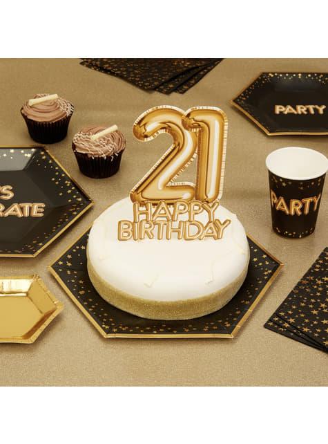 21 Happy Birthday Tortendekoration gold - Glitz & Glamour Black & Gold