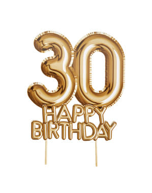"Kakunkoriste ""30 Happy Birthday"" kultainen – Glitz & Glamour Black & Gold"