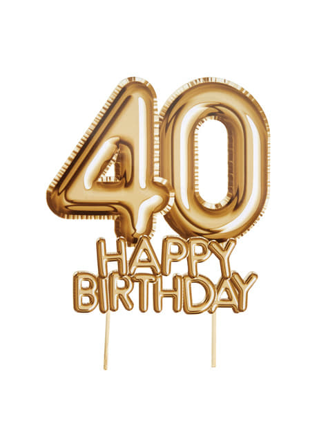 Cake Decoration 40 Happy Birthday In Gold Glitz Glamour Black Gold For Parties And Birthdays Funidelia