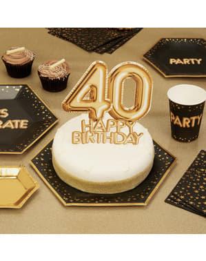 Dekoracje na tort na 40 Urodziny Złota - Glitz & Glamour Black & Gold
