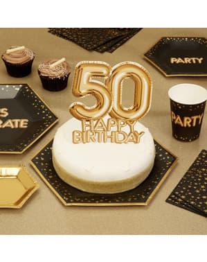 Dekoracje na tort na 50 Urodziny Złota - Glitz & Glamour Black & Gold
