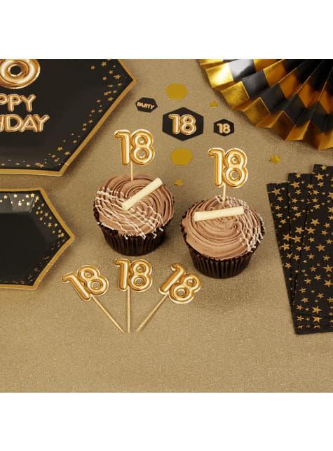20 stuzzicadenti decorativi ''20'' dorati - Glitz & Glamour Black & Gold