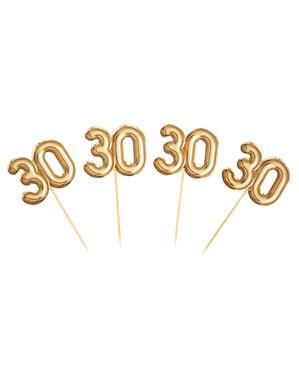 """Комплект от 20 """"30"""" декоративни клечки за зъби в злато - Glitz & Glamour Black & Gold"""