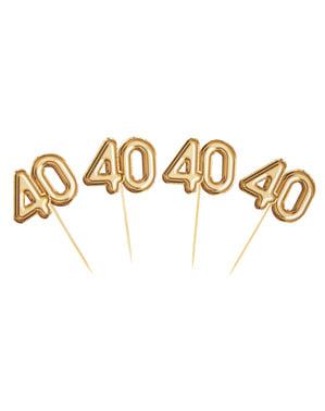 """Zestaw 20 złote dekoracje na patyku """"40"""" - Glitz & Glamour Black & Gold"""