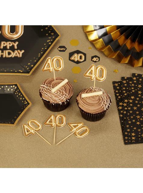 20 stuzzicadenti decorativi ''40'' dorati - Glitz & Glamour Black & Gold