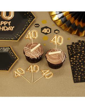 """20 """"40 somistehammastikkuja kultaisena – Glitz & Glamour Black & Gold"""