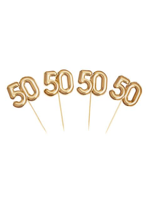 20 stuzzicadenti decorativi ''50'' dorati - Glitz & Glamour Black & Gold