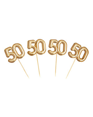 """Sada 20 """"50"""" dekoratívnych špáradiel v zlate - Glitz & Glamour Black & Gold"""
