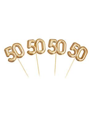 """Zestaw 20 złote dekoracje na patyku """"50"""" - Glitz & Glamour Black & Gold"""