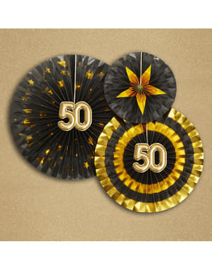 """Sada 3 """"50"""" dekoratívnych ventilátorov - Glitz & Glamour Black & Gold"""
